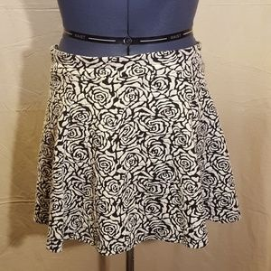 H&M Rose Print Skater Skirt